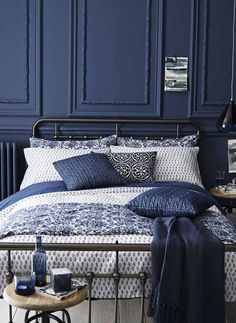 Home Accessories navy blue bedroom stiffkey blue For more inspiration visit navy blue bedroom stiffkey blue For more inspiration visit Navy Blue Bedrooms, Blue Rooms, Dark Blue Bedroom Walls, Blue Feature Wall Bedroom, Midnight Blue Bedroom, White Bedrooms, Suites, Room Decorations, Luxurious Bedrooms