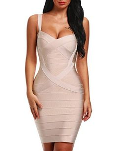 8a389a4ae3 Amazon.com  Bqueen Women s Spaghetti Strap Bodycon Bandage Dress BQ1636-1   Clothing