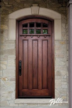 Wood front entry doors from Pella are crafted to complement your home. Explore Mahogany and Rustic Walnut doors to find which fits your home. Pella Doors, Pella Windows, Windows And Doors, Wood Entry Doors, Entrance Doors, Wooden Doors, Exterior House Colors, Exterior Doors, Exterior Design