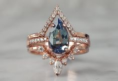 Moonstone engagement ring set rose gold engagement ring vintage Curved Diamond wedding band women Stacking Bridal Anniversary gift for her - Fine Jewelry Ideas Diamond Wedding Rings, Bridal Rings, Diamond Bands, Gold Bands, Wedding Bands, Oval Diamond, Diamond Cuts, Bridal Jewelry Sets, Emerald Diamond