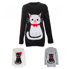 New Mens Womens Ladies Knitted Retro Novelty Cat Print Xmas Christmas Top Jumper