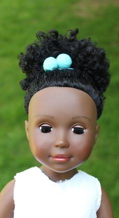 Turquoise Pom Pom Hair Ties - IkuziDolls