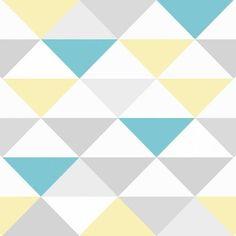 Papel de parede coleção geometria cinza, branco, amarelo e azul - PA8013