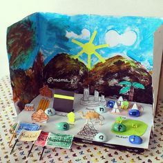 Find letters on Hajj #diorama and build words. #hajj #hajjcrafts #muslimkids…
