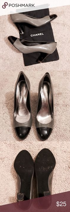 """Ann Taylor patent leather pumps Classic & elegant gray patent leather pumps w/ black cap toe & black heel w/ silver accent. Heels approx 3 1/4"""". SUPER comfy! Previously worn but good condition, a few scuffs (see last photo). There are currently heel liners in the shoes but they are easily removable. Fits true to size!! 💥ALL ITEMS ARE DESCRIBED AS ACCURATELY AS POSSIBLE & ALL SALES ARE FINAL. PLEASE ASK ALL QUESTIONS PRIOR TO PURCHASE, I WILL NOT BE HELD RESPONSIBLE FOR LOST OR DAMAGED…"""