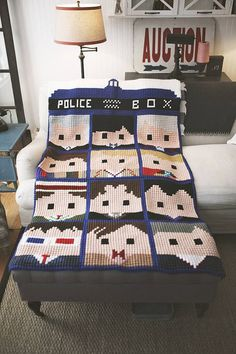 Doctor Who Faces of the Doctor crochet afghan by TannysToppers