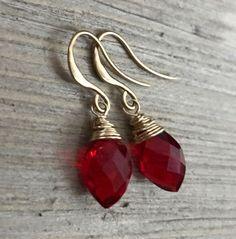 Min Favorit Ruby Red Quartz Marquise Briolette & Matte Gold Wrap Earrings NEW! #minfavorit #Wrap