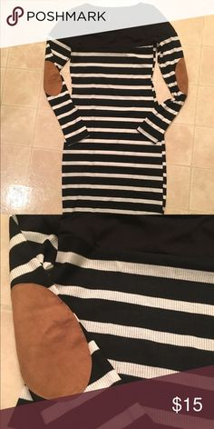 Body Con Dress with Elbow Patches Black and white striped dress with tan suede elbow patches. Never worn! Dresses Long Sleeve