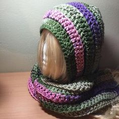 Ravelry: Keep Me Warm Hooded Scarf pattern by Debbie Colon