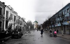 Sobornaya Street, Gatchina in Russia. 1942 on the left (Soviet Union) & 2011 on the right (Russia)