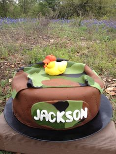 Camo baby shower cake only with my son's spelling instead.. Jaxson (: