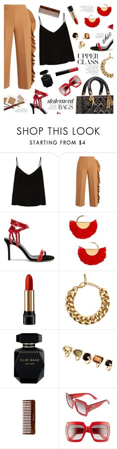 """""""Carry on: Statement Bags"""" by galacticgirl ❤ liked on Polyvore featuring Raey, MSGM, Isabel Marant, BaubleBar, Lancôme, H&M, Elie Saab, (MALIN+GOETZ), Gucci and Giorgio Armani"""