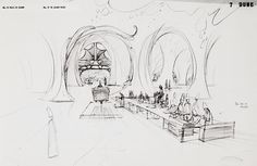 Moebius production design for inside the Atreides palace on Caladan for Jodorowsky's Dune