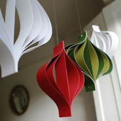 Paper Christmas Decorations Large Red White and Green Hanging Ornaments Geometric Scandi Chic adornos puertas Whoville Christmas, Christmas Ornaments To Make, Noel Christmas, All Things Christmas, Holiday Crafts, Green Christmas, Handmade Christmas, Christmas Grotto Ideas, Christmas Paper Chains