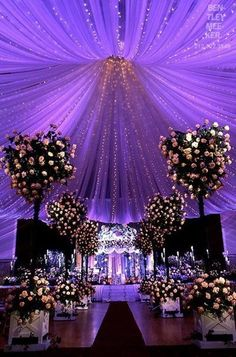 Interesting Starry Night Inspired Purple Wedding Decor Ideas Ideas To Make A Starry Night Wedding in Wedding Decorations Ideas Wedding Table, Wedding Ceremony, Our Wedding, Dream Wedding, Trendy Wedding, Wedding Centerpieces, Centerpiece Ideas, Indoor Wedding, Elegant Wedding