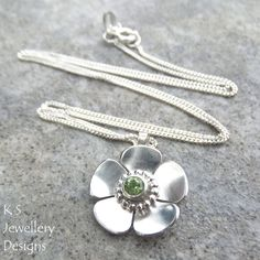 Peridot Buttercup Sterling Silver Flower Pendant | New design for 2015 - decorative tube setting
