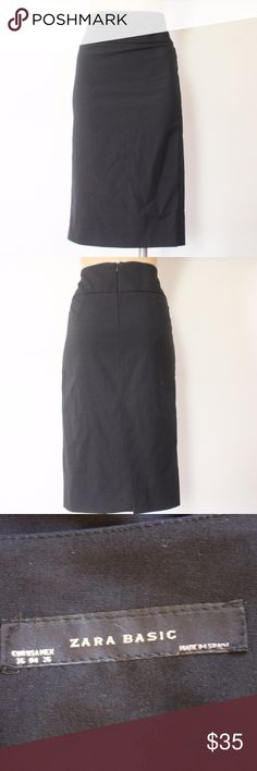 ZARA MIDI PENCIL SKIRT EXCELLENT CONDITIONS ZARA MIDI PENCIL SKIRT Please note that all approx. measurements were taken while garment was laying flat and un-stretched SIZE 4 WAIST 14'' HIPS 17'' LENGTH 26'' FEATURES BACK SLIT AND BACK ZIPPER CLOSURE 65%POLYESTER 30%VISCOSE 3%ELSATANE UNLINED TP-709 Zara Skirts Pencil