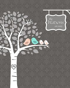 Last Minute Orders / Personalized Family / PRINTABLE PDF / Family Tree with Kissing Love Birds - 8x10 inches on Etsy, $18.00