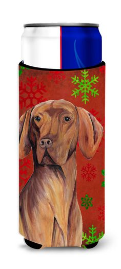 Vizsla Red and Green Snowflakes Holiday Christmas Ultra Beverage Insulators for slim cans SC9418MUK