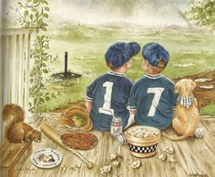"""Proverbs 17:17.  """"A friend loves you all the time....""""  One little boy's numbered jersey is a """"1"""" and the other's is a """"7.""""  They are sitting close to one another and together their shirts read, """"17.""""  You see, they are friendly and they are living out Proverbs 17:17. Also, the dog has a kerchief around his neck and he is numbered """"17"""" as well."""