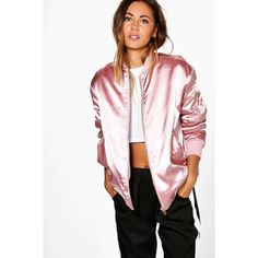 Boohoo Boutique Evie Satin Bomber Jacket ($52) ❤ liked on Polyvore featuring outerwear, jackets, pink, pink satin jacket, pink bomber jacket, flight jacket, duster coat and puffer jacket