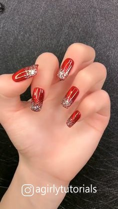 15 Most Popular Step By Step Nail Art Tutorials Part 8 - Christmas nails Nail Art Designs Videos, Nail Designs Pictures, Red Nail Designs, Simple Nail Art Designs, Red Nails, Hair And Nails, Red Glitter Nails, Red Nail Art, Cute Nails