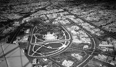 En esta aerofoto de la Colonia Roma en el año de 1947 se puede observar la Plaza de Toros y calles comoColima, Durango, Salamanca y Valladolid.