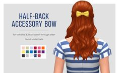 "femmeonamissionsims:  "" Half-Back Accessory Bow I've had a few questions about making my accessory bow work with some other hairs, so here's a quick edit made to fit the Luxury Party half-back hair.  DETAILS  • Found under hats  • Base game compatible  •..."