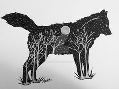 Wolf Midnight Forest Silhouette by ghostcutter
