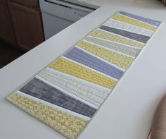 Yellow and Grey Quilted Table runner, Bright Spring colors, Quilted Table Topper, Counter runner
