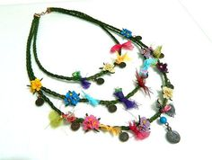 Handmade, wild flowers, embroidery, gift, for… Fabric Necklace, Crochet Necklace, Beaded Necklace, Lace Flowers, Crochet Flowers, Wild Flowers, Ethnic Jewelry, Beaded Jewelry, Crochet Accessories