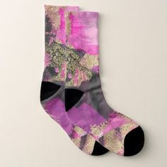 Pink Black Gold Glitter Modern Brush Glam Grunge Socks - girly gifts special unique gift idea custom