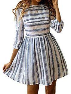 77c28993e1093e Rundhals Kleider Damen Strandkleider mit 3/4 Ärmel Langarm A-Linie Streifen  Sommerkleider Minikleider