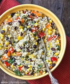 Quinoa with corn, lime and black beans