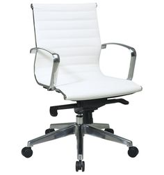 #Eco Leather Mid Back Management Office Chair:   -Eco Leather seat and back  -Built-in lumbar support  -Molded foam seat  -One touch pneumatic seat height adjustment  -Mid pivot knee tilt control with adjustable tilt tension  -Polished aluminum arms  -Heavy duty polished aluminum base  -Dual wheel carpet casters    Colors: White, Black  #eames replica