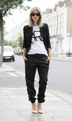 Baggy Leather sweatpant and Heels