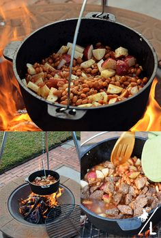 Stew Meat Can of baked beans 1 Potato (peeled and chopped) 5 Red Potatoes (chopped) Onion 2 garlic cloves  In large cast iron pot, add chopped onions, garlic, potatoes and beans. Bring pot to a boil and stir in stew meat. Cook for 30-45 minutes until meat is cooked thoroughly. Serve with hot bread.