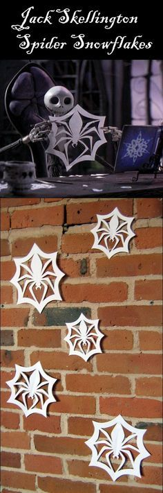 DIY: Nightmare Before Christmas Jack Skellington Spider Snowflakes. Printable pattern -- follow link. What a great idea for our Halloween with Tim Burton idea! make your halloween party spooktacular http://halloween-party.fastblogger.uk/