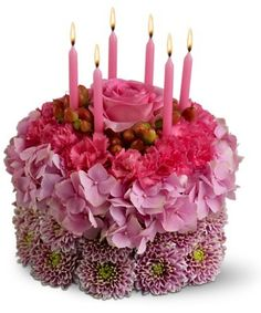 Surprise a loved one with a happy birthday flower delivery from Teleflora. Shop our assortment of bouquets, flowers & balloons for same-day birthday delivery. Happy Birthday Flower Cake, Birthday Flower Delivery, Beautiful Birthday Cakes, Cake Birthday, Flower Images, Flower Pictures, Cheap Flower Delivery, Fresh Flower Cake, Fresh Flowers
