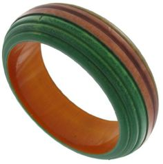 """Wood Bangle Wooden Green Carved Bracelet India. $12.95. Wood. Width 1"""" (Interior Diameter 2 5/8""""). Carved Bangle. Color: Green. Made In India"""