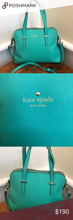 "Kate Spade Green Leather Cedar St Satchel Kate Spade embossed name Kate Spade 14 karat spade stud Leather  Protective Feet on the Bottom Top Zipper Closure  2 inside slip pockets and 1 zipper pocket   12""L x 9""H x 5""W Handle drop is 5 inches Adjustable strap shoulder 20 inches Bag is more green then blue. look at picture of bottom of bag is closest to true color. It is green not blue but bluish hues. Gently Used Interior lining wear Exterior very good interior stain on fabric lining. kate…"