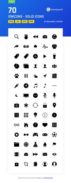 Ionicons - Solid Free  Icon Pack - 70 Solid Icons