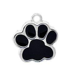 Housweety 10PCs Silver Tone Black Enamel Dog Paw Pendants 18x17mm Housweety $2.39