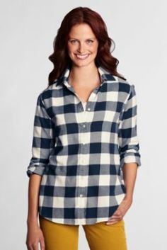 Women's Long Sleeve Pattern Flannel Shirt from Lands' End in turquoise sea plaid - medium.