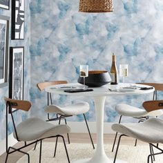 Abstract. Contemporary. Premium. $65.00 Matte Finish. Made in USA. Removable. Temporary. #DIY #BuyAmerican #homedecorideas #removablewallpaper Dining Chairs, Dining Table, Blue Wallpapers, Peel And Stick Wallpaper, Your Space, Watercolor, Contemporary, Abstract, Showroom