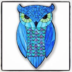 Blue Horned Owl - Stained Glass Mosaic by Kasia Polkowska - visit www.kasiamosaics.com for class schedule, limited release templates and original fine art. #StainedGlassOwl