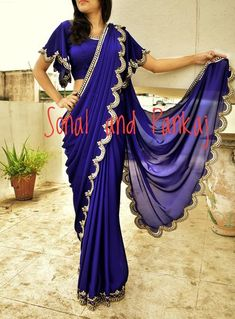 Beautiful Electric Blue Saree With Stylish Blouse - Half Saree Designs, Saree Blouse Designs, Latest Bridal Lehenga Designs, Trendy Dresses, Long Dresses, Designer Sarees Wedding, Pure Georgette Sarees, Drape Gowns, Simple Sarees