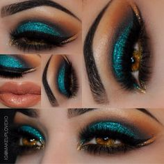 Peacock Inspired Dramatic Eye Makeup Ideas Pfau inspiriert dramatische Augen Make-up-Ideen Gorgeous Makeup, Pretty Makeup, Love Makeup, Makeup Inspo, Makeup Inspiration, Beauty Makeup, Makeup Looks, Hair Makeup, Makeup Ideas