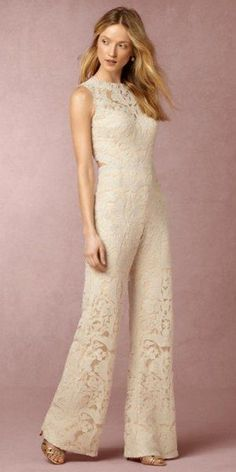 BHLDN bridal wedding pantsuit 2 / http://www.deerpearlflowers.com/wedding-pantsuits-and-jumpsuits-for-brides/