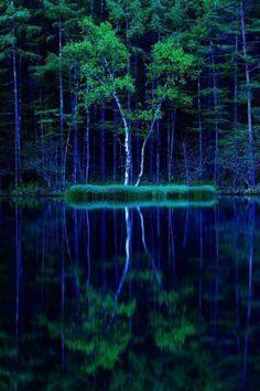 御射鹿池は、長野県の東部にあるため池で、その美しさのあまりに日本画のモチーフやCMの撮影場所に採用されました。池を囲む木々は水面に映り込み、幻想的な世界を織りなします。